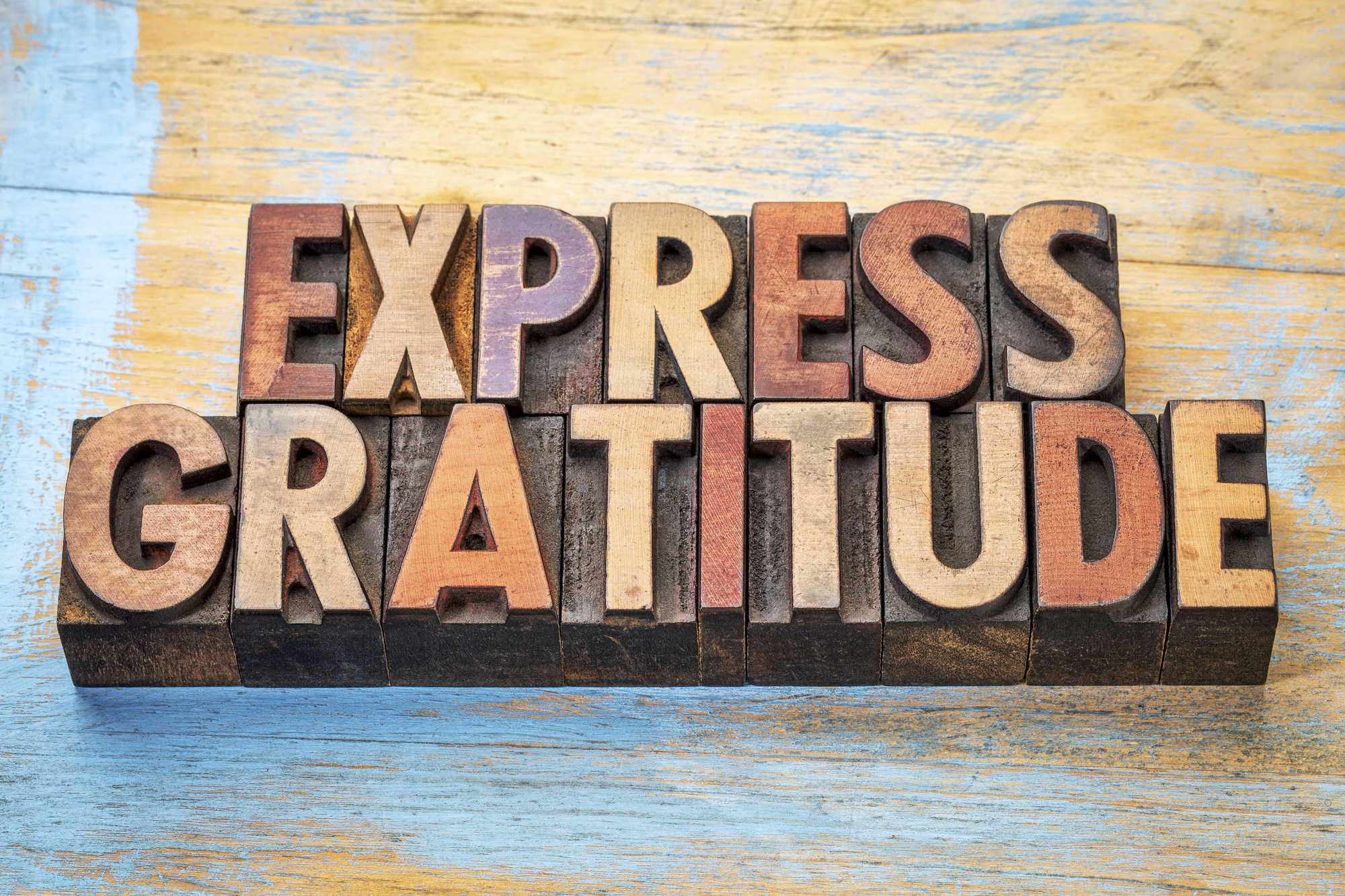Express gratitude word abstract in wood type